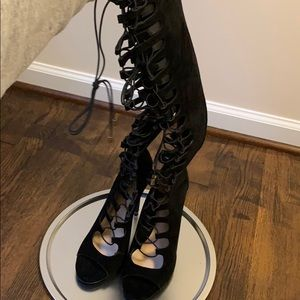 Laced up heel